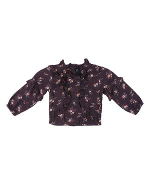 GJ BABY Full Sleeves Floral Print Top - Grey