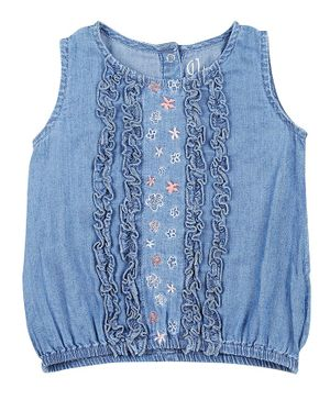 GJ BABY Sleeveless Floral Embroidered Top - Blue