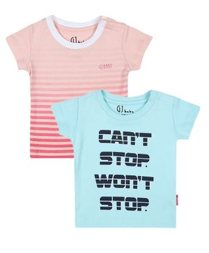 GJ BABY Pack Of 2 Short Sleeves Striped T-Shirts - Pink & Blue