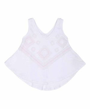 GJ BABY Sleeveless Printed Top - White