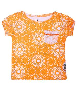 GJ BABY Short Sleeves All Over Printed Top - Orange