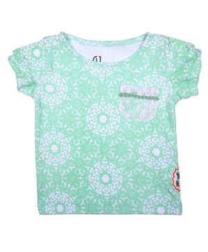 GJ BABY Short Sleeves All Over Printed Top - Blue