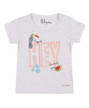 GJ BABY Short Sleeves Toucan Bird Print Top - White
