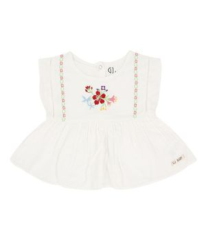GJ BABY Sleeveless Flower EmbroideryTop - White