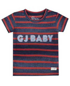 GJ BABY Short Sleeves Striped T-Shirt - Blue & Red