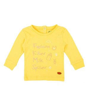 GJ BABY  Full Sleeves Milk Bottle Print T-Shirt - Yellow