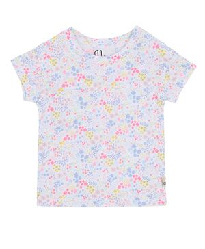 GJ BABY Short Sleeves Ditsy Floral Print Top - White