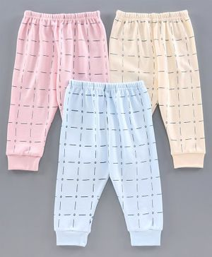 Zero Full Length Checked Lounge Pant Pack of 3 - Pink Yellow Blue