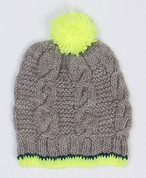 USHA ENTERPRISES Cable Knit Design Cap - Grey