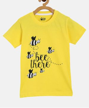The Talking Canvas Half Sleeves Bumble Bee Printed Tee - Yellow