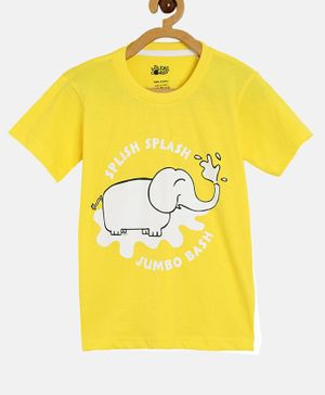 The Talking Canvas Half Sleeves Elephant Printed Tee - Yellow
