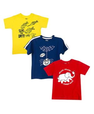 The Talking Canvas Combo Pack of 3 Half Sleeves Elephant Print T-Shirt - Red Blue & Yellow