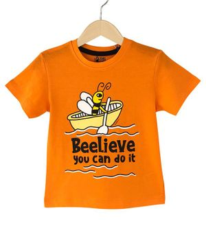 The Talking Canvas Half Sleeves Believe You Can Do It Print T-Shirt - Orange