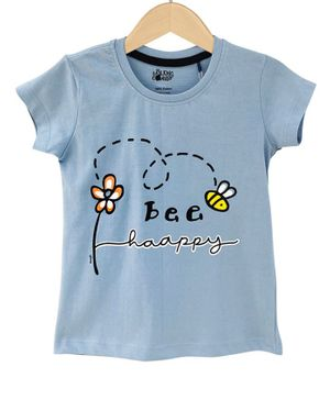 The Talking Canvas Half Sleeves Bee Happy Print T-Shirt - Blue