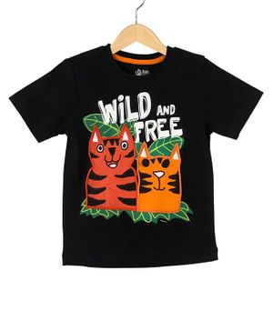 The Talking Canvas Half Sleeves Wild And Free Print T-Shirt - Black