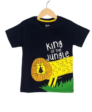 The Talking Canvas Half Sleeves King Of The Jungle Print T-Shirt - Navy Blue
