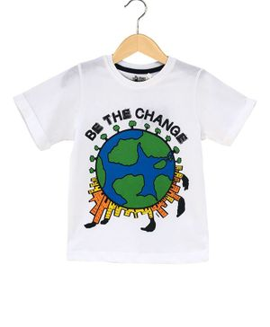 The Talking Canvas Half Sleeves Be The Change Print T-Shirt - White