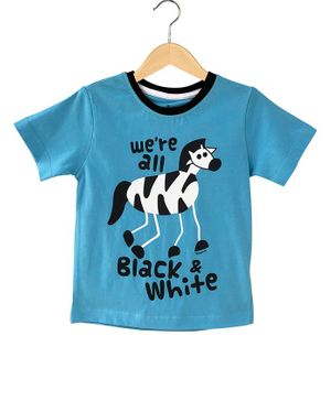 The Talking Canvas Half Sleeves We're all Black And White Zebra Print T-Shirt - Blue