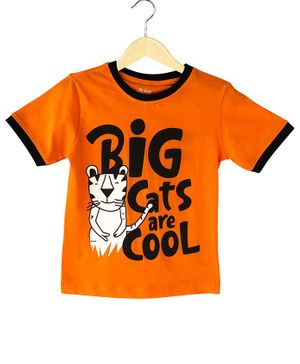 The Talking Canvas Half Sleeves Big Cats Are Cool Print T-Shirt - Orange