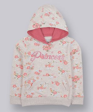 Plum Tree Full Sleeves Floral Pint Hoodie - Light Pink