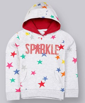 Plum Tree Full Sleeves Stars Printed Hoodie - Grey Melange