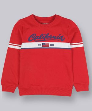 Plum Tree Full Sleeves California Printed Sweatshirt - Red