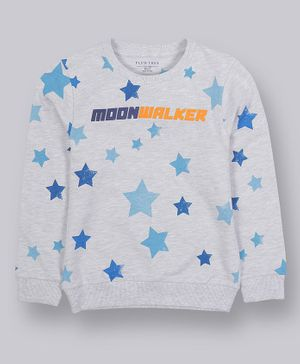 Plum Tree Full Sleeves Star Printed Sweatshirt - Light Grey