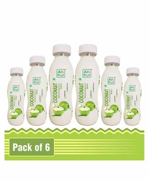 AloFrut 100% Natural Tender Coconut Water Pack of 6 - 200 ml Each