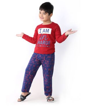 Soft Touche I Am In Charge Print Full Sleeves Tee With Printed Pajama - Red Blue