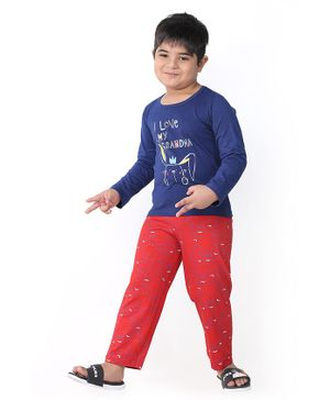 Soft Touche I Love My Grandma Print Full Sleeves Tee With Pajama - Blue Red
