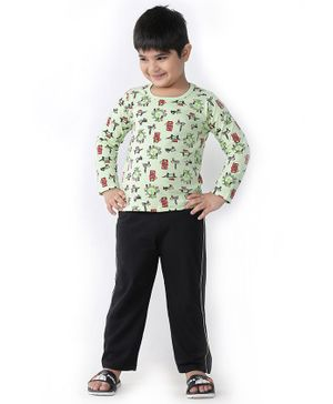 Soft Touche Giant Wheel Print Full Sleeves Tee With Pajama - Green