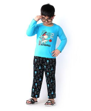 Soft Touche Baseball Print Full Sleeves Tee With Pajama - Blue