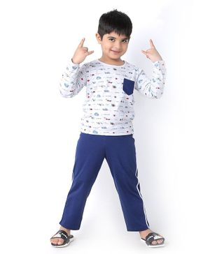 Soft Touche Full Sleeves Snail Print Tee With Pajama - White Blue