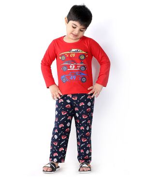 Soft Touche Car Print Full Sleeves Tee With Pajama - Red