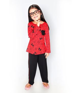 Soft Touche Bow Print Full Sleeves Tee With Pajama - Red