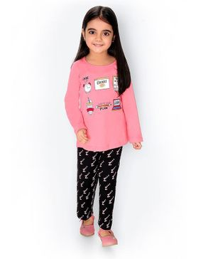 Soft Touche Google Print Full Sleeves Tee With Pajama - Pink
