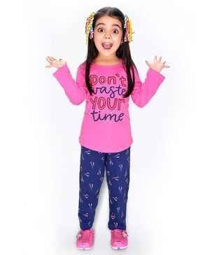 Soft Touche Full Sleeves Don't Waste Your Time Print Tee With Pajama - Pink