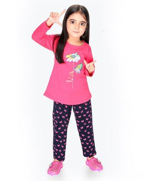 Soft Touche Flower Print Full Sleeves Tee With Pajama - Pink