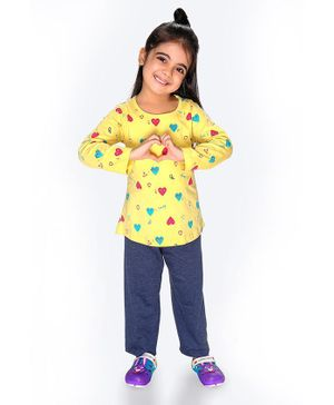 Soft Touche I Love Print Full Sleeves Tee With Pajama - Yellow