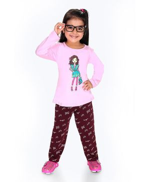 Soft Touche Girl Print Full Sleeves Tee With Pajama - Pink