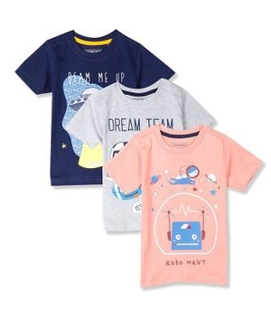 Cherokee Pack Of 3 Dream Team Print T-Shirt - Peach Grey & Blue