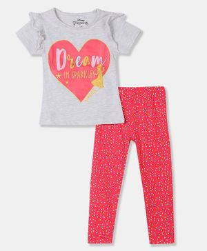 Colt Half Sleeves Dreams With Sparkles Printed Top Leggings Set - Light Grey And Coral
