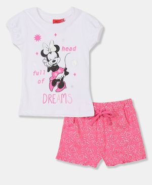 Colt Cap Sleeves Disney Minnie Mouse Print Top With Shorts - White And Pink