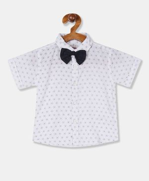 Donut Half Sleeves Printed Bow Shirt - White