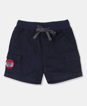 Donut Patch Work Woven Cargo Shorts - Navy