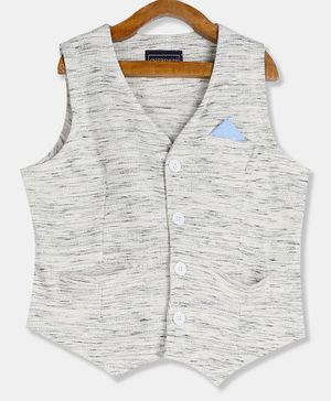 Cherokee Sleeveless Self Design Waistcoat - Light Grey