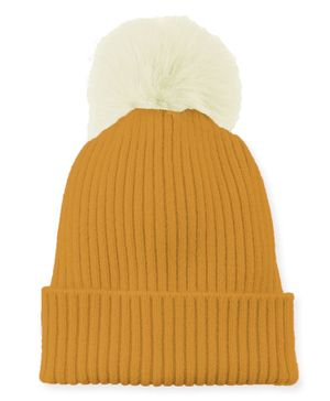 Syga Cotton Woolen Cap with Pom Pom Yellow - Circumference 48 to 54 cm