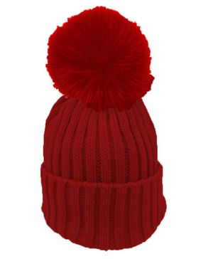 Syga Cotton Woolen Cap with Pom Pom Red - Circumference 48 to 54 cm