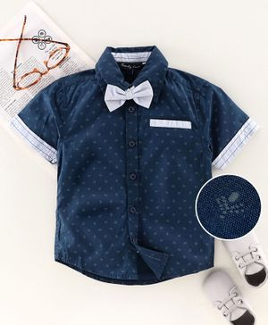 Trendy Cart Half Sleeves Printed Shirt With Bow - Navy Blue