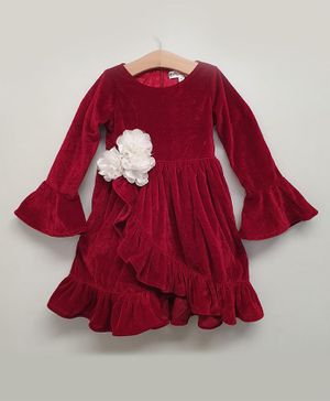 My Pink Closet Full Sleeves Ruffle Style Flower Detailed Velvet Dress - Red